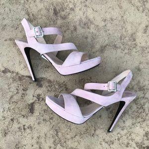 Prada Triple Strap Lilac Suede Paltform Sandals
